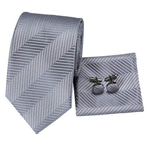 - Hi-Tie Classic Striped Tie Handkerchief Cufflinks Set for Men Gift Box (Silver)