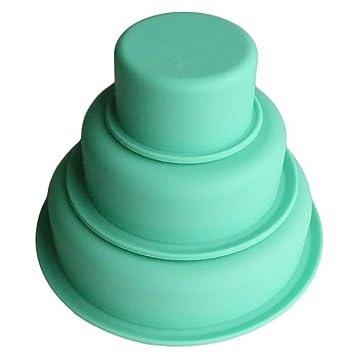 YUnnuopromi Molde de silicona antiadherente para repostería de 3 pisos, redondo, para fiesta de cumpleaños verde: Amazon.es: Hogar