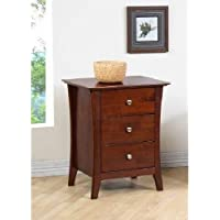 Modern Chestnut 3 Drawer Nightstand Is Made of Solid Rubberwood. Its a Sturdy Bed Side Table for Your Bedroom.