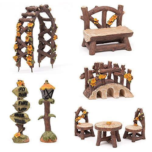 Tonsiki 8 Pcs Miniature Fairy Garden Furniture Accessories Set