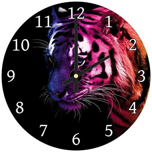 hiusan Rainbow Pink Yellow Tiger Wood Wall Clocks Silent Decorative Living Room,Wall Clocks Non Ticking,for Kids Bedrooms,12in ()