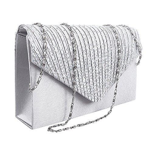 Iknowy da donna diamante raso sera pochette busta borsetta da sposa borsa
