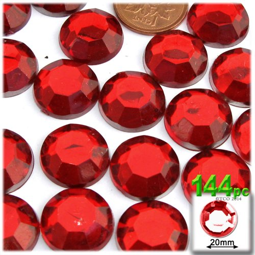20mm Gem - The Crafts Outlet 144-Piece Flatback Round Rhinestones, 20mm, Ruby Red