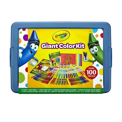 Crayola GIANT COLOR KIT Exclusive- 0ver 100 pieces- Crayons Construction  Paper Coloring Book COLORED Pencils Paint and Brushes