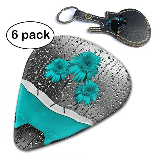 Turquosie Flowers Raindrops Blue And Green Celluloid Guitar Picks 6 ()