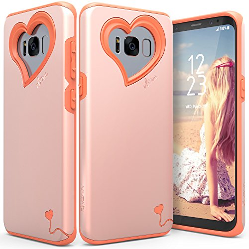 Vena Galaxy S8 Plus Case, [vLove][Heart-Shape   Dual Layer Protection] Hybrid Bumper Cover for Samsung Galaxy S8+ (Rose Gold/Coral Pink)
