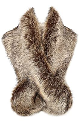 BABEYOND Womens Faux Fur Collar Shawl Faux Fur Scarf Wrap for Winter Coat 47.2""