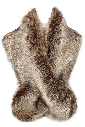 BABEYOND Women's Faux Fake Fur Collar Shawl Faux Fur Scarf Wrap for Winter Coat 1920s Flapper Outfit 120cm/47.2