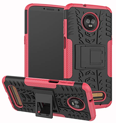 Moto Z3 Case, Moto Z3 Play Case, Yiakeng Dual Layer Shockproof Wallet Slim Protective with Kickstand Hard Phone Case Cover for Motorola Moto Z3 (Rose Red)