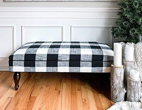 Plaid Cottage Chair - Design 59 Buffalo Check Ottoman, Black and White Plaid