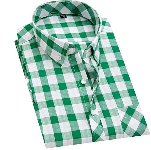 - Pandapang Men's Check Slim Fit Casual Short Sleeve Pocket Cotton Shirt Green M