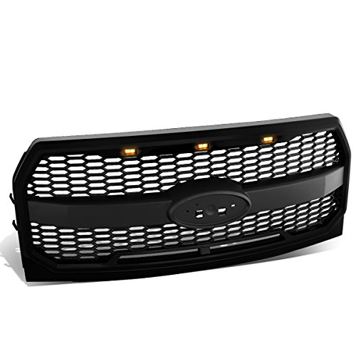DNA Motoring GRL-F15015MESH-BK Matte Black Mesh Front Grille w/Shell with LED [For 15-17 Ford - Ford Honeycomb F150