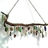 Sculptured Driftwood Seaglass Suncatcher Lake Erie Beach Glass Bohemian Window Beach Pottery Art