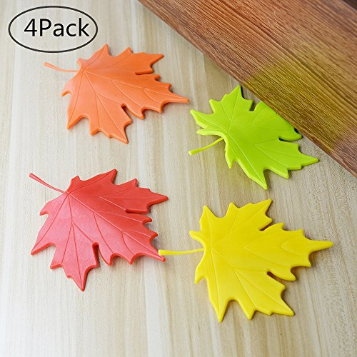 Red Stopper - TANG SONG Maple Leaf Door Stop Plastic Colorful Cartoon Stopper Wedge Finger Protector Door Stops set For Home Garden Office (Pack of 4,Yellow Red Orange And Green)