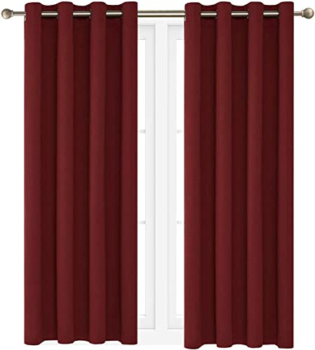 Victoria Classics Neil 90 Blackout Curtains Room Darkening Window Panel That are Thermal Insulated with a Grommet -Energy Saver One Panel 90 x 52 Burgundy
