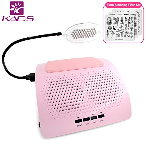 KADS Nail Dust Collector Manicure Machine Two Fans With Light, 40w High Power Professional Salon Vacuum Cleaner DIY Fingernail Art Design Tools