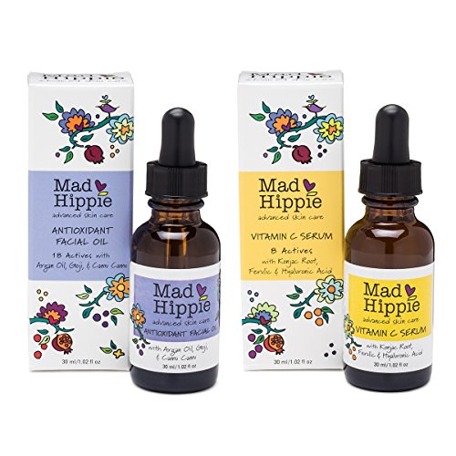 Mad Hippie Antioxidant Facial Oil & Vitamin C Serum with Resveratrol, Pomegranate, and White Tea Bundle, 1.02 fl. oz. each