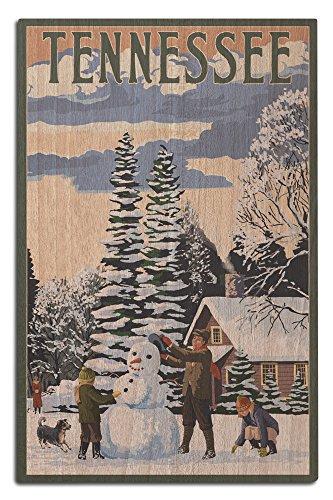 Lantern Press Tennessee - Snowman Scene (12x18 Wood Wall Sign, Wall Decor Ready to - Snowman Tennessee