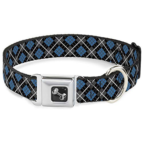 Buckle Down Argyle Black/Gray/Red Dog Collar Bone from Buckle Down