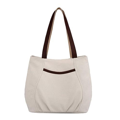 Lonson Women s Canvas Shoulder Bag Small Handbag Tote Purses Beige One Size cf2e833e0a4dc