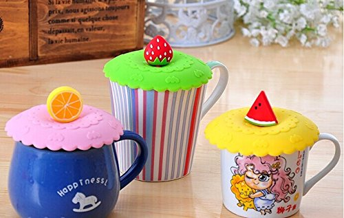 Dust Cup Lid (Rimobul 3 pcs Lovely Watertight Silicone Cup Lid Cover Mug Cap Block dust Leakproof Lid (Fruit))