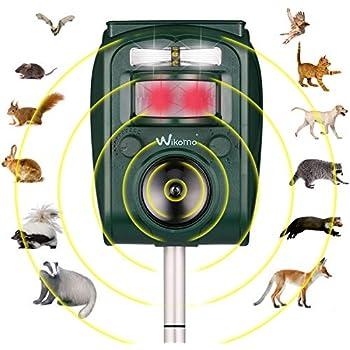 Wikomo Ultrasonic Pest Repeller, Solar Powered Waterproof Outdoor Animal Repeller with Ultrasonic Sound,Motion Sensor and Flashing Light pest Repeller for ...