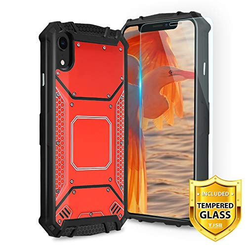 (TJS Apple iPhone XR (6.1-Inch) Case, with [Tempered Glass Screen Protector] Aluminum Metal Premium Drop Protection Shockproof Military Phone Case Cover with Built-in Metal Plate Back (Red))