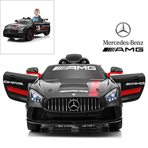 - Mercedes Benz AMG GT4 Electric Ride On Car with Remote Control for Kids, 12V Power Battery Official Licensed Kids Car with 2.4G Radio Parental Control Opening Doors, Black