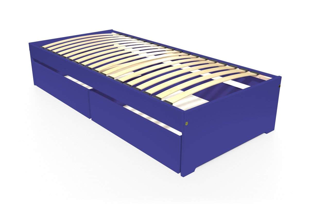 ABC MEUBLES - Einzelbett Malo 90x190 cm + Schubladen - TOPMALO90T - Dunkelblau, 90x190