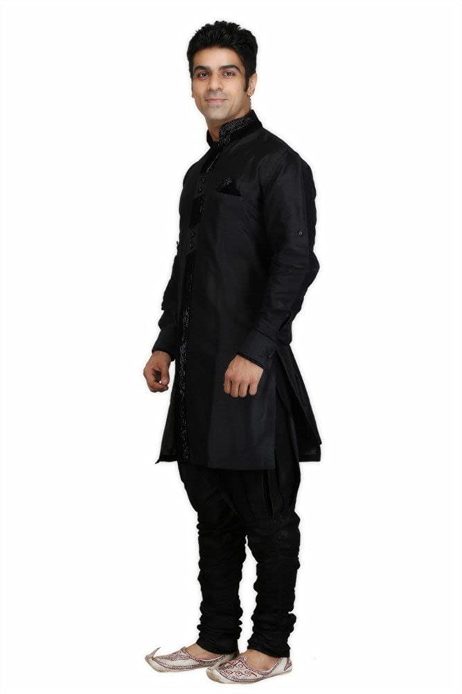 Royal Men's Designer Indo Western Sherwani_Black ROYAL-226-BLACK-INDOW