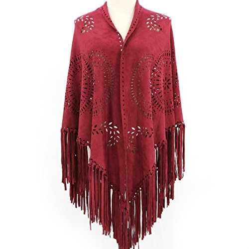 ZOFZ Fashion Suede Laser Cut Fringed Cape Shawl Wrap Scarf 4 Colors (Deep Red)