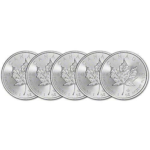 CA 2017 Canada Silver Maple Leaf (1 oz) FIVE (5) Brilliant (Silver Maple Leaf Bullion)