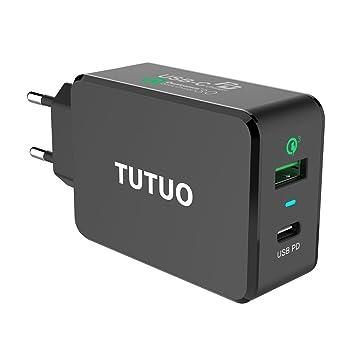 TUTUO Cargador USB con Quick Charge 3.0 Carga Rápida + USB C PD (Power Delivery) 33W 2 Puertos Adaptador de Corriente de Carga Rápida para Phone XS, ...