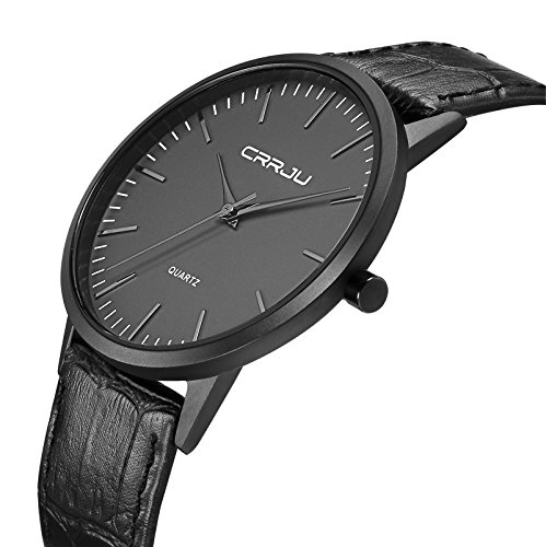 Slim Quartz Watches for Men Simple Military Waterproof Leather Mens Watch in (Military Quartz Bracelet)