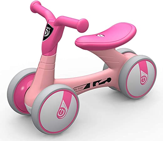 Bicicleta sin pedales Bici Primera Bicicleta para bebés - Regalo de cumpleaños para niños pequeños/niñas/niños de 1 año, 4 Ruedas sin Pedales Bicicletas para Caminar, Negro/Rosa (Color : Pink): Amazon.es: Hogar