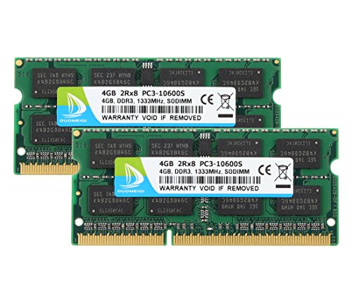 - DUOMEIQI 8GB Kit (2X4GB) PC3-10600 DDR3 1333MHz SODIMM RAM Upgrade for AMD Intel Laptop, MacBook Pro 13/15/17 inch Early/Late 2011,iMac 21.5-inch Mid/Late 2011,27-inch Mid 2011,Mac Mini 5,1 & 5,2 Mid