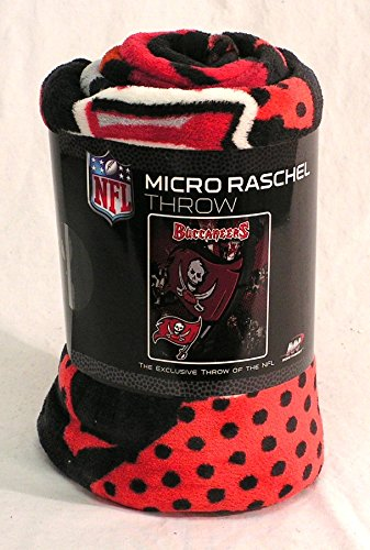 Plush Raschel Micro (The Northwest Company NFL Tampa Bay Buccaneers Micro Raschel Plush Throw Blanket, Grunge Design)
