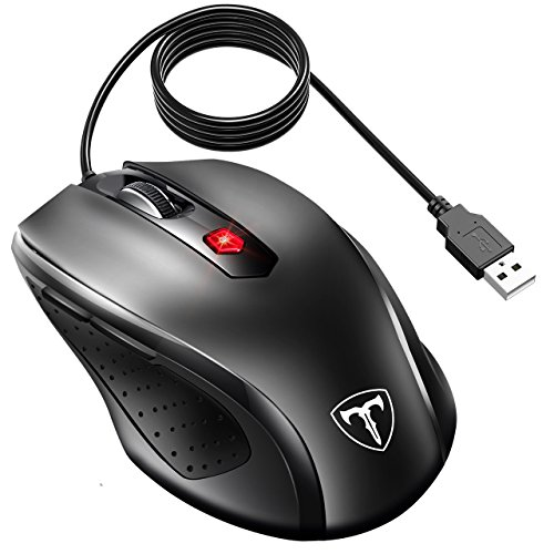 VicTsing Wired Optical Mouse, 6 Buttons, 3200 DPI 5 Adjustment Levels Ergonomic Wired USB Mouse with 5 Feet Long Cable for PC Laptop Computer, Pure Black