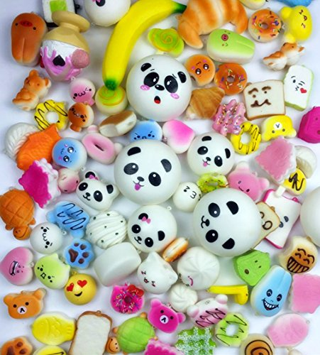 50 Pcs Kawaii Squishies Slow Rising Jumbo/Medium/Mini Random Cake Bread Panda Bun with Phone Straps Kids Pretend Play ibloom squishy