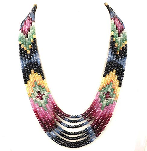 7 Strands Certified Natural Emerald Ruby Sapphire Finest Quality Beads Necklace