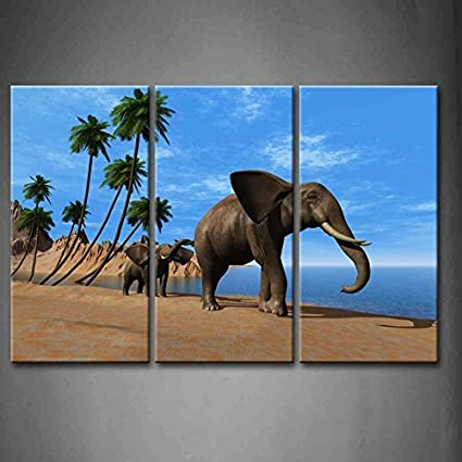 3f4cc83898067 Amazon.com: 3 Panel The Group of Elephants Walking On The Beach Oil ...