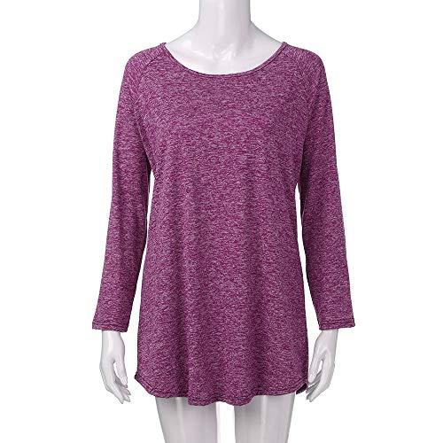 Camisas Mujer,❤ Amlaiworld Camisetas Mujer Casual Blusa de Manga Larga de Color sólido para Mujer con Cuello Redondo Vestido Blusa Tallas Grandes S ...