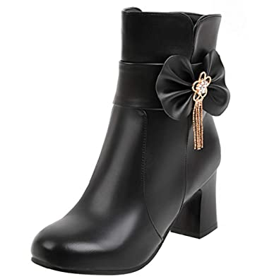 Artfaerie Womens Zipped Ankle Boots Thick Heel Booties Ladies Block High Heel Faux Fur Boots