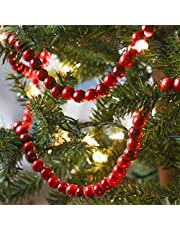 Christmas Wooden Bead Garland Bright Red Wood Bead Garland Christmas Tree Holiday Decoration (Dark Red,9 Feet)