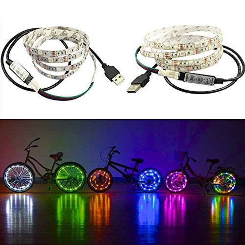 Happy Hours - 30 Beads Per Meter Colorful Light Strings / Waterproof RGB Bicycle Wheel Lights / LED Bike Light Wheel / Color changing LED Strip Front And Back (2.0 (Hoop Light Bar)