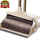YONILL Broom and Dustpan Set, Handheld Broom and Upright Dustpan with Long Handle Extentable 36 Broom and Windproof Dustpan Grips Combo Set for Sweeping Home, Lobby and Office (General Style)