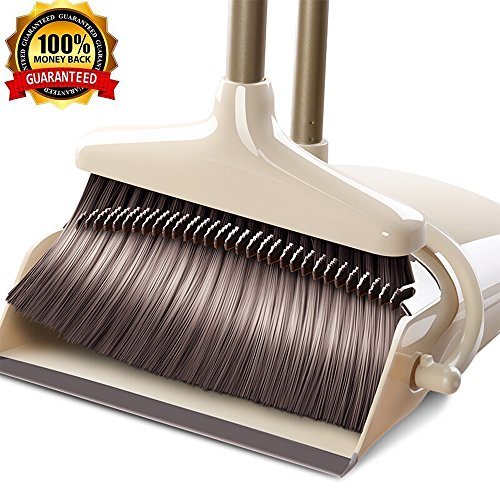 YONILL Broom and Dustpan Set, Handheld Broom and Upright Dustpan with Long Handle Extentable 36 Broom and Windproof Dustpan Grips Combo Set for Sweeping Home, Lobby and Office (General Style) ()