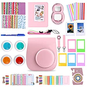 MoroTek 12 in 1 Fujifilm Instax Mini 9 or Mini 8/8+ Accessories Bundles include Case/Album/Strap/3 Styles Frames/Selfie Lens/Filters /Stickers/Pen