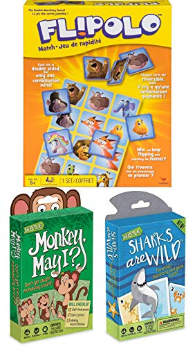 Double Match Kid Cards Monkey & Sharks Game Pack Flipolo Animal Matching Bundled with Sharks are Wild & Monkey May I Wild Family Fun Night 3 Items