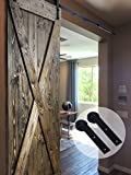 CCJH 11FT Country Line-Flat Style Steel Sliding Barn Door Hardware Interior for Single Door Black
